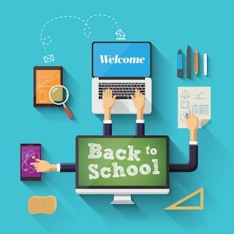 Powrót do szkoły tle