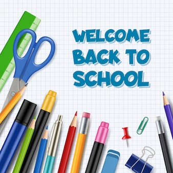 Powrót do szkoły tło, długopis z ołówkami materiały biurowe kolekcja narzędzi stacjonarnych realistyczny motyw edukacji dzieci