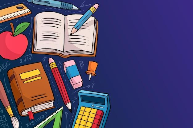 Powrót do szkoły tło ręcznie rysowane styl