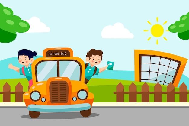 Powrót do szkoły tło z autobusem