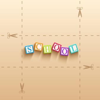 Powrót do szkoły tło z kolorowymi kostkami z literami