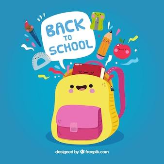 Powrót do szkoły tło z plecakiem kreskówki