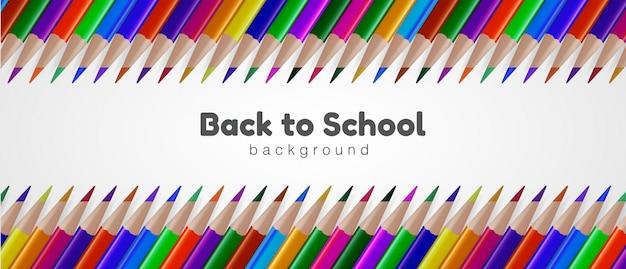 Powrót do szkoły tło z realistycznym kolorowym ołówkiem