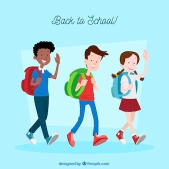 Powrót do szkoły tło z szczęśliwych uczniów