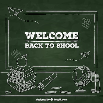 Powrót do szkoły tło z tablica stylu