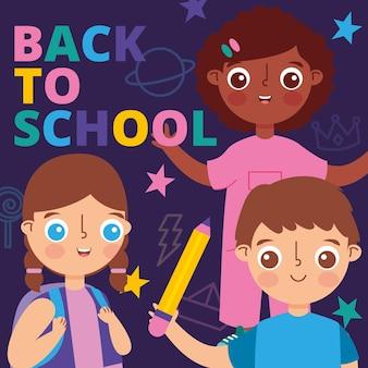 Powrót do szkoły transparent z dziećmi i gwiazdami. ilustracja wektorowa