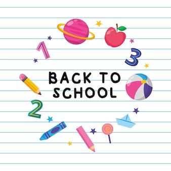 Powrót do szkoły transparent z ikonami szkoły nad notebookiem. ilustracja wektorowa