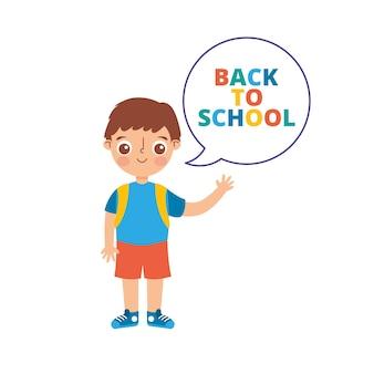 Powrót do szkoły transparent z kreskówka dziecko na białym tle nad białym tle. ilustracja wektorowa