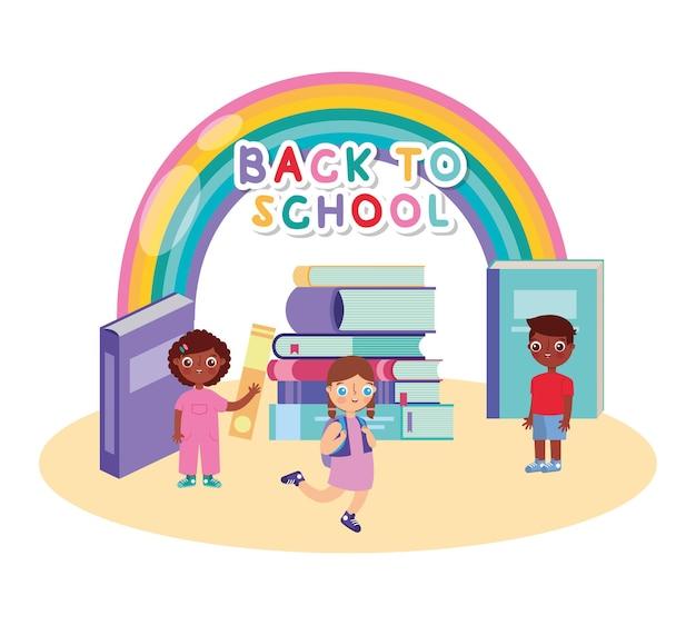 Powrót do szkoły transparent z książkami i dziećmi i kreskówką tęczy. ilustracja wektorowa