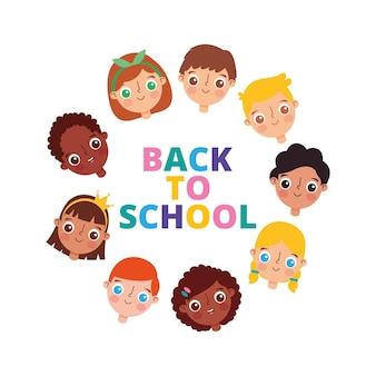 Powrót do szkoły transparent z twarzami dzieci izolowanych na białym tle. ilustracja wektorowa