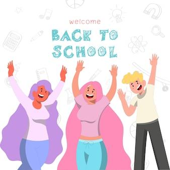Powrót do szkoły trzy nastolatki podnoszą rękę w górę projekt postaci