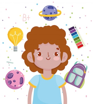Powrót do szkoły, uczeń chłopiec akwarela paleta plecak edukacja podstawowa ilustracja kreskówka wektor