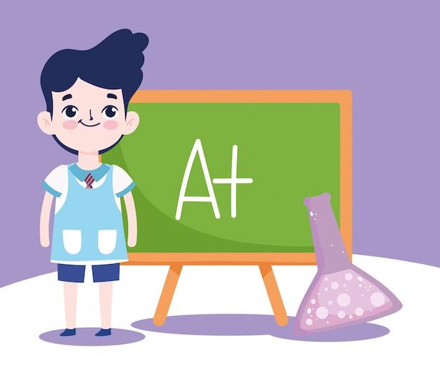 Powrót do szkoły, uczeń chłopiec tablica i probówka laboratorium edukacja podstawowa ilustracja kreskówka