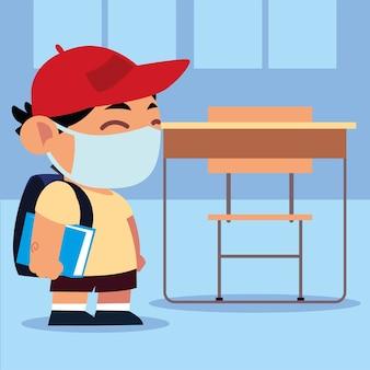 Powrót do szkoły, uczeń ładny chłopiec z maską ochronną w klasie, nowa normalna ilustracja