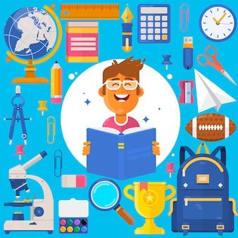 Powrót do szkoły. uczeń torba lub student. akcesoria szkoleniowe ołówki, długopisy, notesy, linijka, materiały piśmienne, podręczniki. iillustration wektorowych