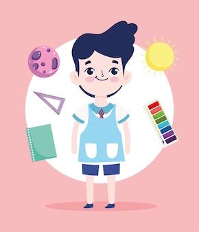 Powrót do szkoły, uczeń władca książki paleta kolorów plecak edukacja podstawowa ilustracja kreskówka wektor