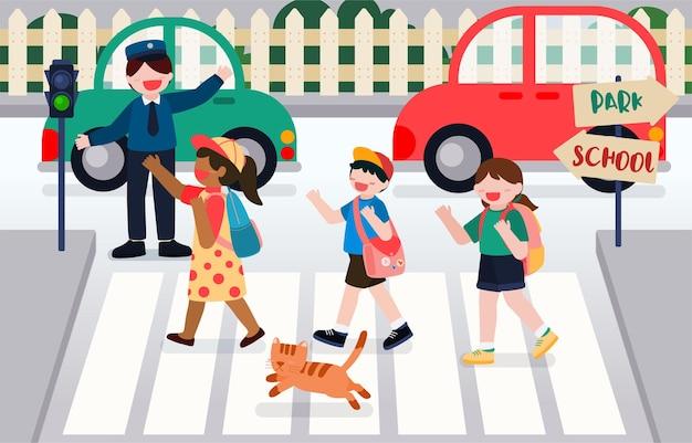 Powrót do szkoły. uczniowie przechodzą przez ulicę na przejściu dla pieszych przed szkołą, aby iść do szkoły pierwszego dnia tygodnia.