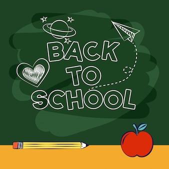 Powrót do szkoły w klasie tabeli ołówkiem aplee ilustracji
