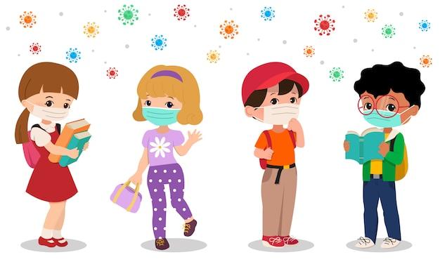 Powrót do szkoły w środku pandemii wirusa korony. chłopiec i dziewczynka noszą maskę na twarz, aby uniknąć zarażenia wirusem. mieszkanie na białym tle