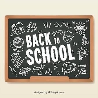 Powrót do szkoły w tle na łupek