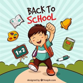 Powrót do szkoły w tle z chłopcem