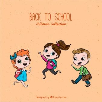 Powrót do szkoły w tle z dziećmi