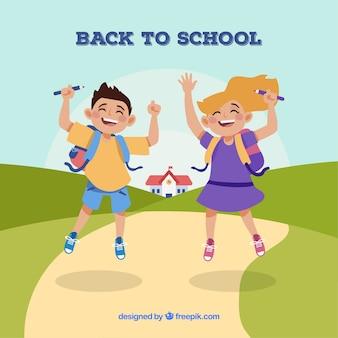 Powrót do szkoły w tle z radosnymi dziećmi