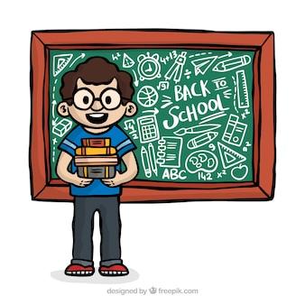Powrót do szkoły w tle z uczniem