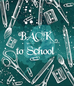 Powrót do szkoły w tle ze szczotkami