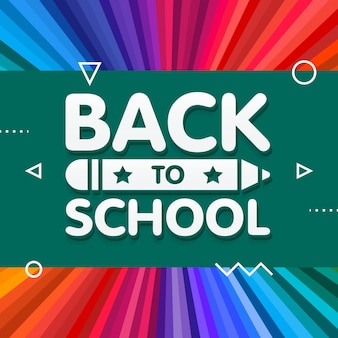 Powrót do szkoły wektor projekt transparentu z tytułem 3d i ołówkiem w zielonej tablicy w tle tęczy kolor promieni. ilustracja wektorowa.