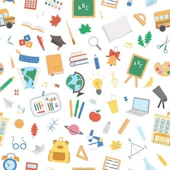 Powrót do szkoły wektor wzór. edukacyjny papier cyfrowy