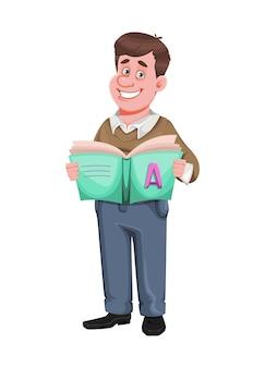 Powrót do szkoły wesoły mężczyzna nauczyciel trzyma abcbook przystojny nauczyciel postać z kreskówki