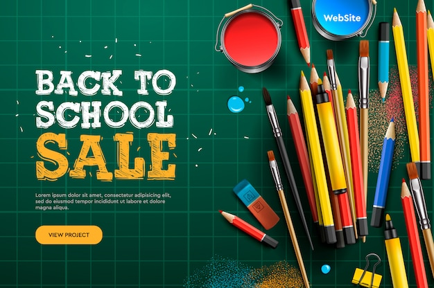 Powrót do szkoły wyprzedaż. szablon strony docelowej. ilustracja na plakat zaproszenie banery i strona internetowa.