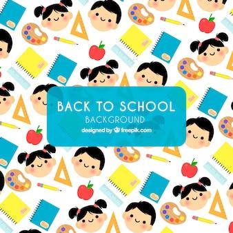 Powrót do szkoły wzór z dziećmi