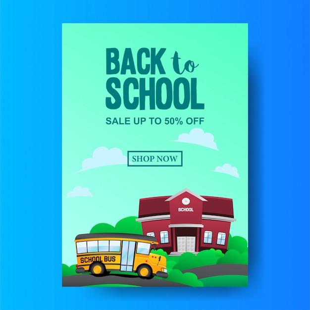 Powrót do szkoły z ilustracji szkoły autobusem i szkoły