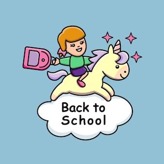 Powrót do szkoły z nadrukiem dziewczynki i jednorożca