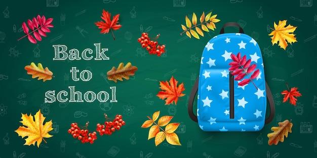 Powrót do szkoły z niebieskim plecakiem i kolorowymi jesiennymi liśćmi