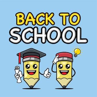 Powrót do szkoły z szablonem projektu maskotki transparent ołówek