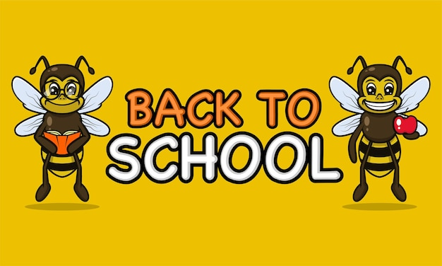 Powrót do szkoły z szablonem projektu maskotki transparent pszczół