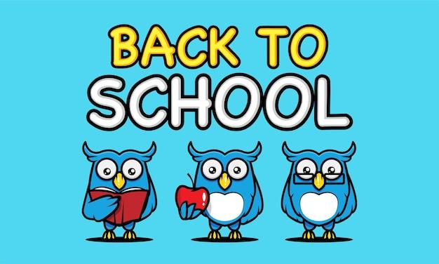 Powrót do szkoły z szablonem projektu maskotki transparent sowa