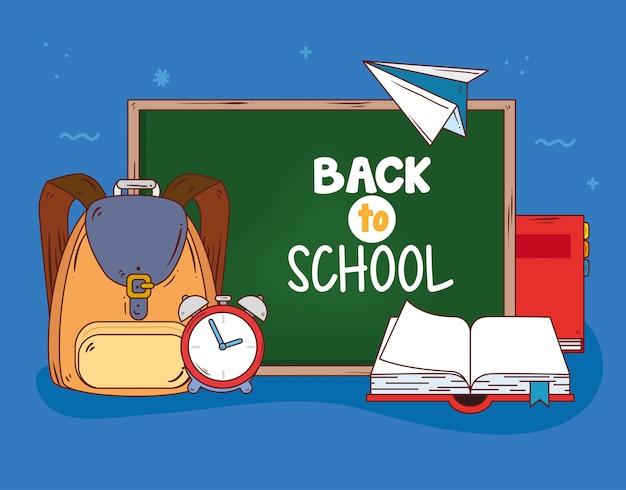 Powrót do szkoły z tablicą i dostarcza edukacji wektorowej projektowania ilustracji
