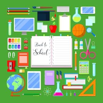 Powrót do szkoły z zestawem ikon edukacji.