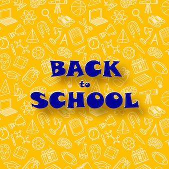 Powrót do szkoły zabawny abstrakcyjny baner w stylu cięcia papieru