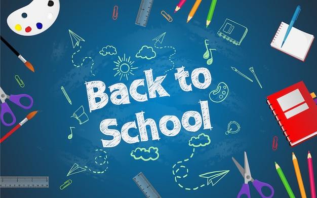 Powrót do szkoły ze szkolnymi przedmiotami i elementami