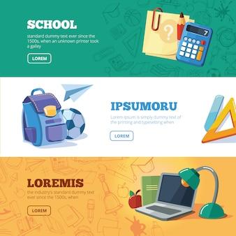 Powrót do szkoły zestaw bannerów internetowych