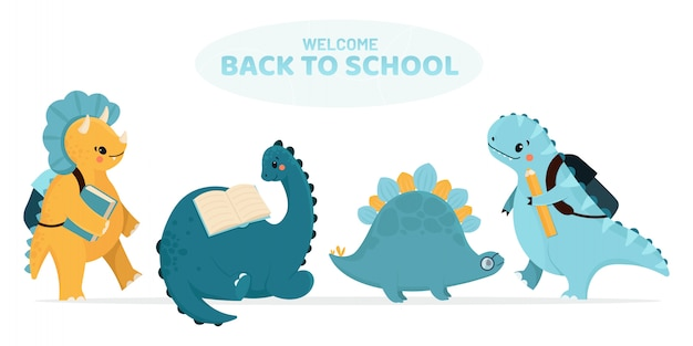 Powrót do szkoły - zestaw dinozaurów. ilustracja.