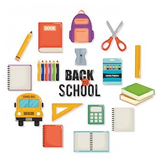 Powrót do szkoły zestaw ikon i elementów