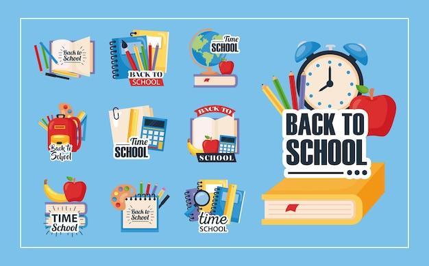 Powrót do szkoły zestaw ikon