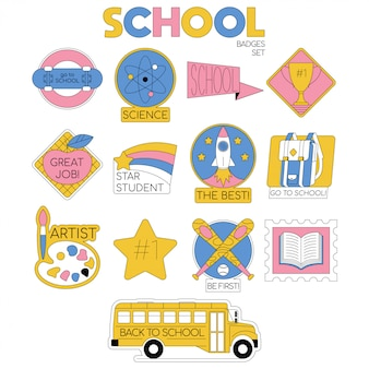 Powrót do szkoły zestaw kolekcji odznak dla uczniów, ubrania uczniów z przedmiotami zaopatrzeniowymi.