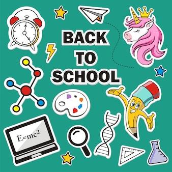 Powrót do szkoły zestaw kolorowych naklejek